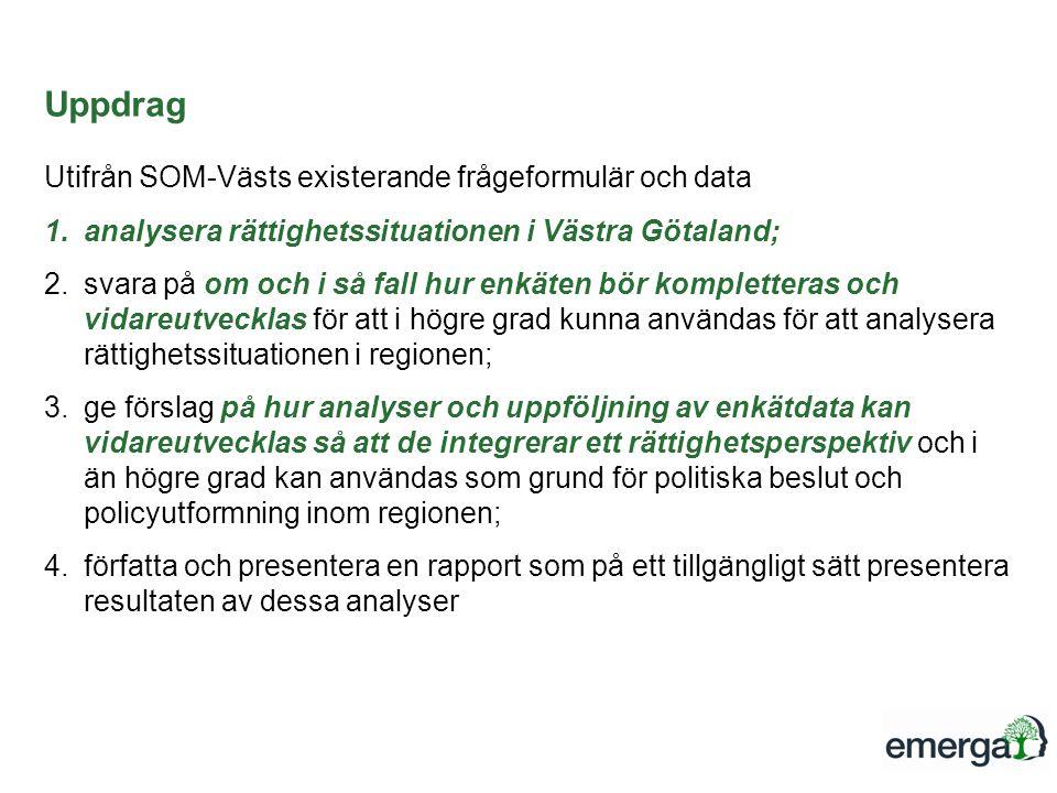 Uppdrag Utifrån SOM-Västs existerande frågeformulär och data 1.analysera rättighetssituationen i Västra Götaland; 2.svara på om och i så fall hur enkäten bör kompletteras och vidareutvecklas för att i högre grad kunna användas för att analysera rättighetssituationen i regionen; 3.ge förslag på hur analyser och uppföljning av enkätdata kan vidareutvecklas så att de integrerar ett rättighetsperspektiv och i än högre grad kan användas som grund för politiska beslut och policyutformning inom regionen; 4.författa och presentera en rapport som på ett tillgängligt sätt presentera resultaten av dessa analyser