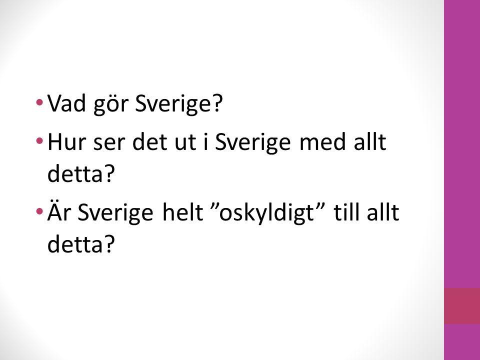 """Vad gör Sverige? Hur ser det ut i Sverige med allt detta? Är Sverige helt """"oskyldigt"""" till allt detta?"""