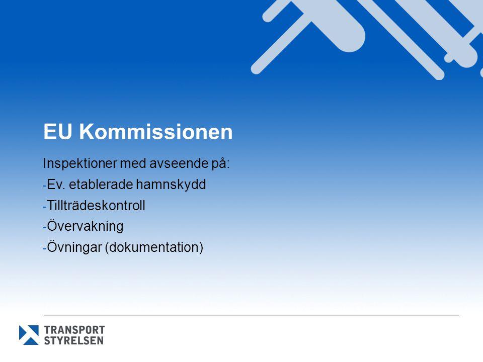 EU Kommissionen Inspektioner med avseende på: - Ev. etablerade hamnskydd - Tillträdeskontroll - Övervakning - Övningar (dokumentation)