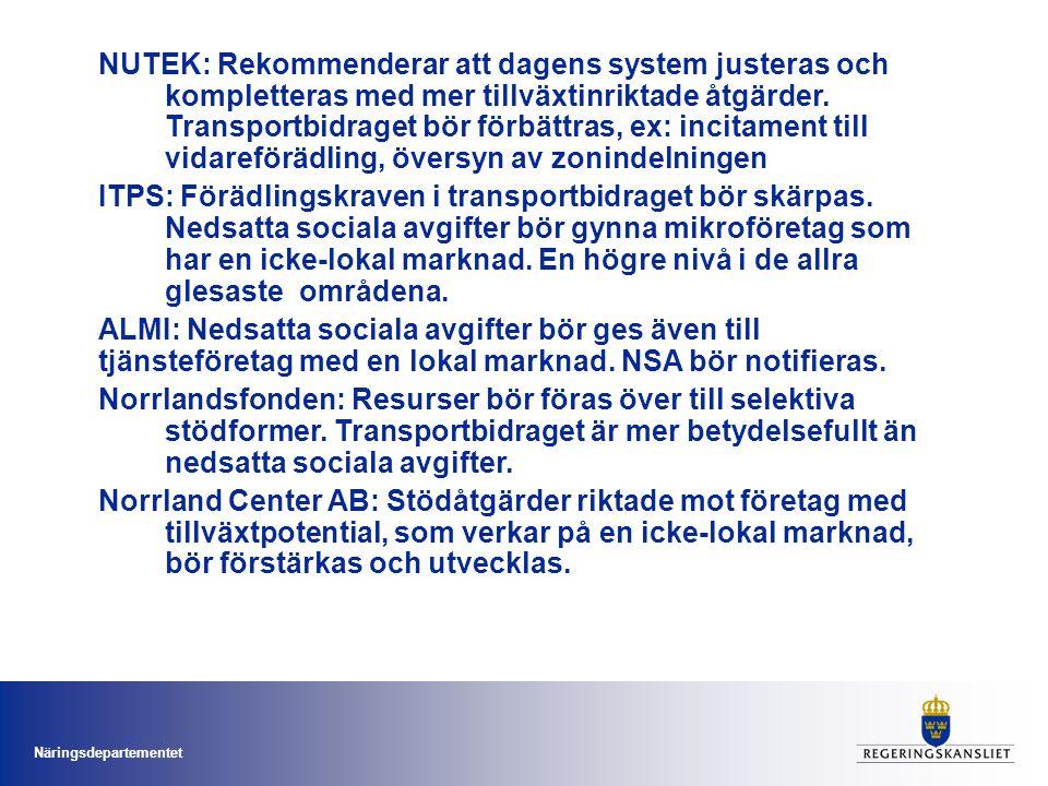 Näringsdepartementet NUTEK: Rekommenderar att dagens system justeras och kompletteras med mer tillväxtinriktade åtgärder.
