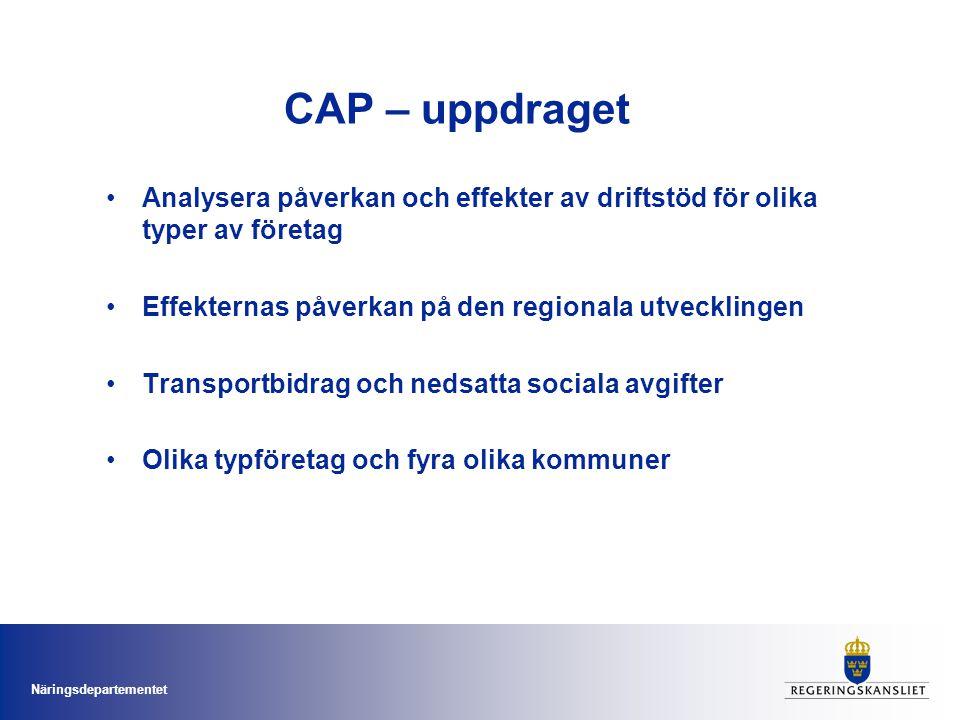 Näringsdepartementet CAP - Resultat på företagsnivå Transportbidraget verksamhet Nedsatta sociala avgifter storlek Transportbidraget: + kompenserar lokaliseringsnackdelar + bevarar/skapar jobb - kompenserar inte för bristande konkurrens eller infrastruktur - skapar inga nya företag Nedsatta sociala avgifter: + stor ekonomisk betydelse försmåföretag >4 anställda + symboliskt värde - onödigt kostsamt - skapar inte nya företag - flyttar inte företag