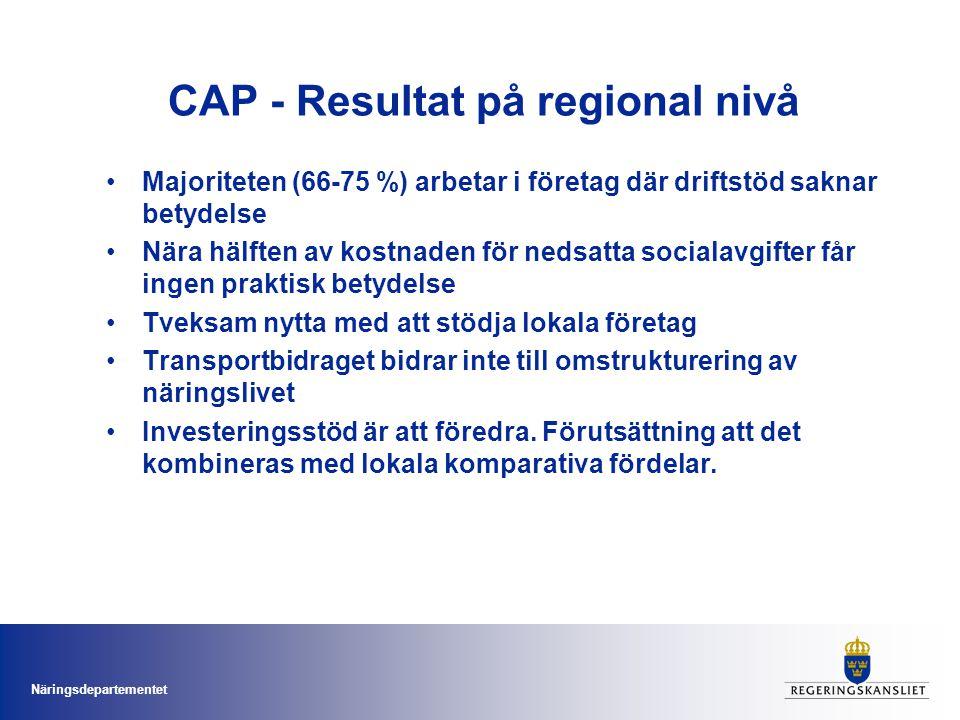 Näringsdepartementet CAP - Resultat på regional nivå Majoriteten (66-75 %) arbetar i företag där driftstöd saknar betydelse Nära hälften av kostnaden för nedsatta socialavgifter får ingen praktisk betydelse Tveksam nytta med att stödja lokala företag Transportbidraget bidrar inte till omstrukturering av näringslivet Investeringsstöd är att föredra.