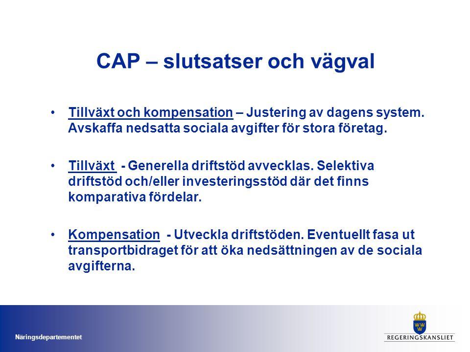 Näringsdepartementet CAP – slutsatser och vägval Tillväxt och kompensation – Justering av dagens system.