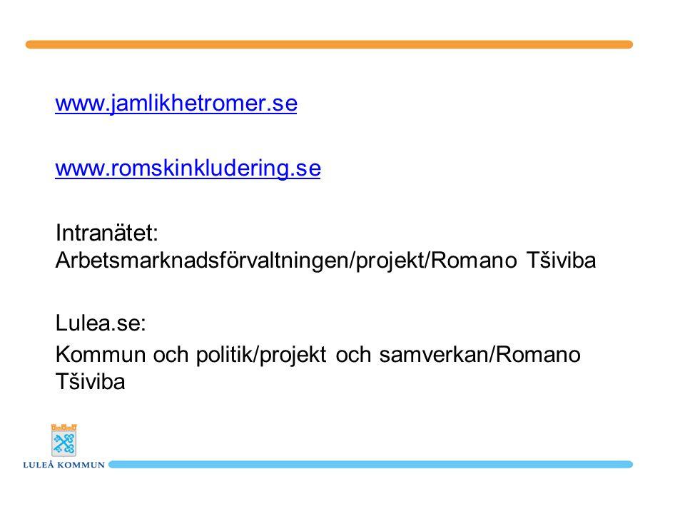 www.jamlikhetromer.se www.romskinkludering.se Intranätet: Arbetsmarknadsförvaltningen/projekt/Romano Tšiviba Lulea.se: Kommun och politik/projekt och samverkan/Romano Tšiviba