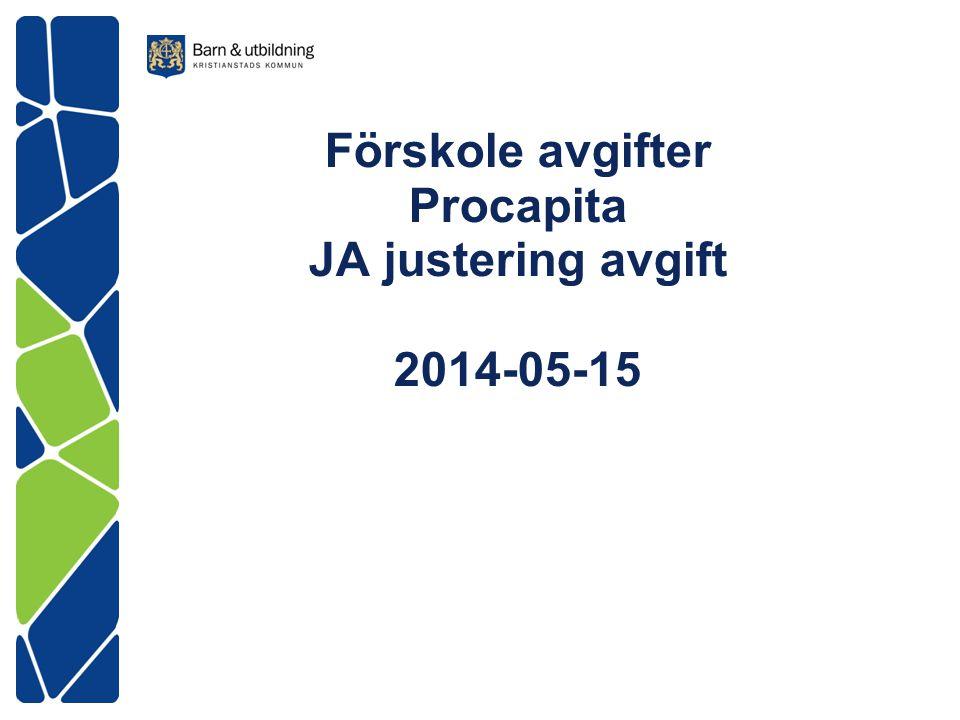 Avgiftshantering inom Procapita Tidigare FARK justerade avgift en månad bakåt JA (justering avgift) justerar automatiskt avgifter 12 månader bakåt Inkomstjämförelse med Skatteverket Sker varje år jan-maj (2014 är det år 2012)