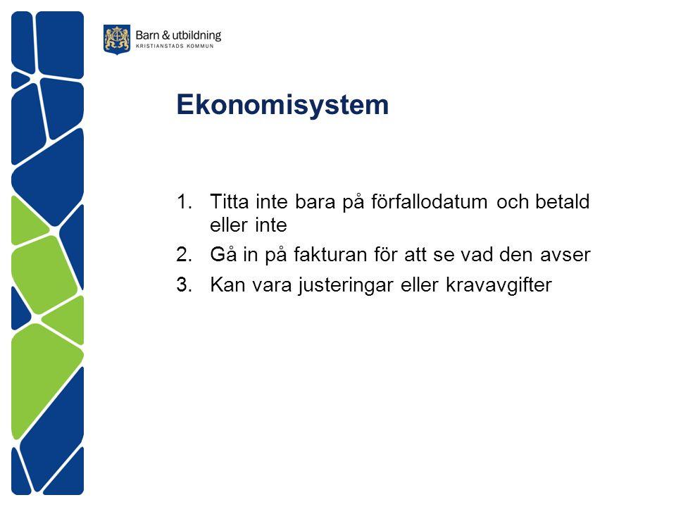 Ekonomisystem 1.Titta inte bara på förfallodatum och betald eller inte 2.Gå in på fakturan för att se vad den avser 3.Kan vara justeringar eller krava