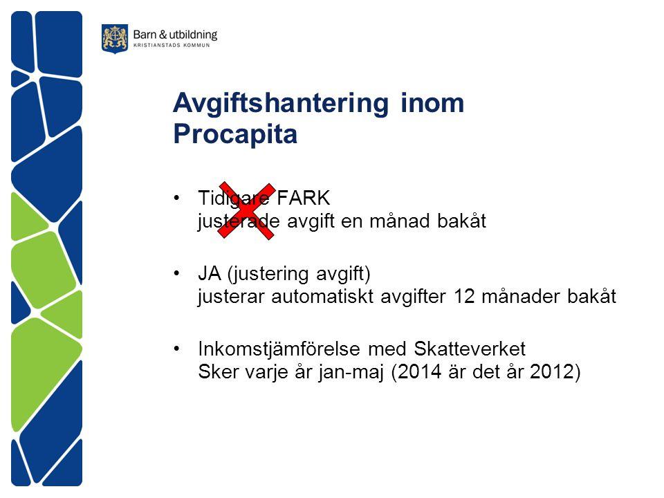 Avgiftshantering inom Procapita Tidigare FARK justerade avgift en månad bakåt JA (justering avgift) justerar automatiskt avgifter 12 månader bakåt Ink