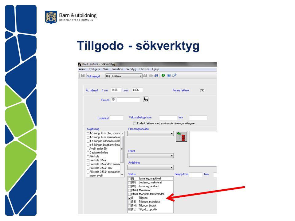 Tillgodo - sökverktyg