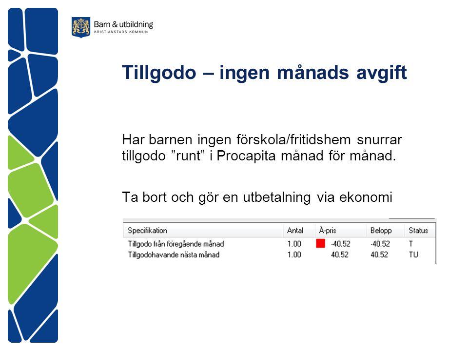 """Tillgodo – ingen månads avgift Har barnen ingen förskola/fritidshem snurrar tillgodo """"runt"""" i Procapita månad för månad. Ta bort och gör en utbetalnin"""