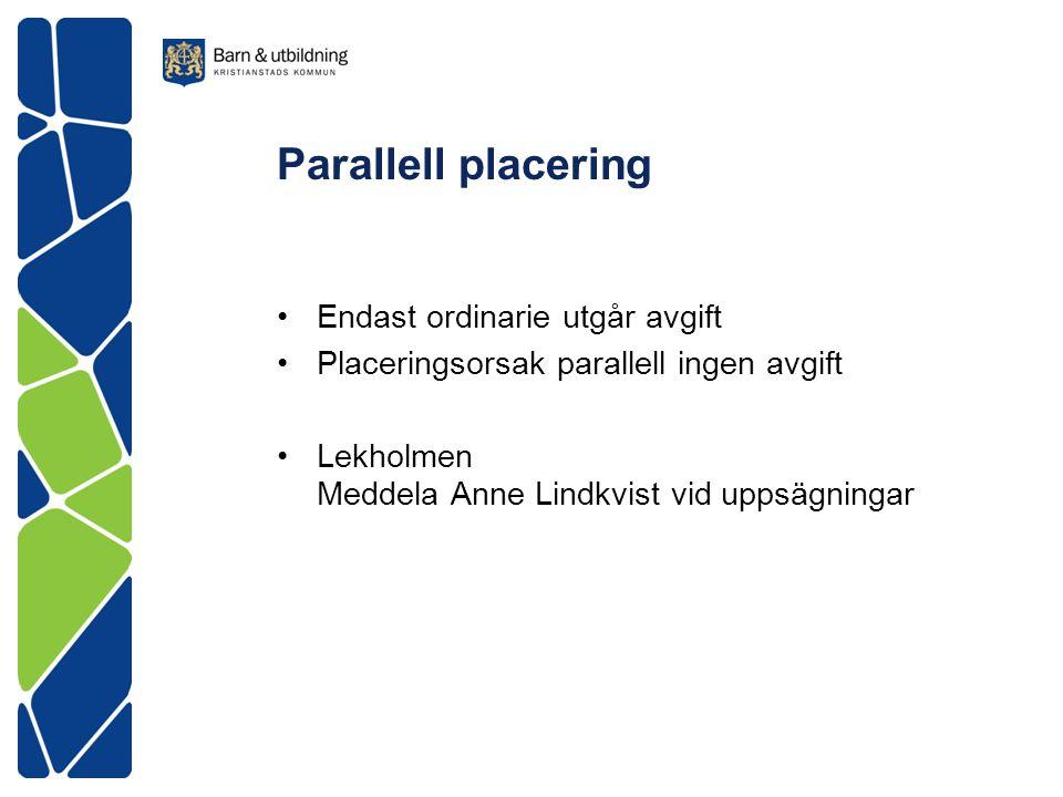 Parallell placering Endast ordinarie utgår avgift Placeringsorsak parallell ingen avgift Lekholmen Meddela Anne Lindkvist vid uppsägningar