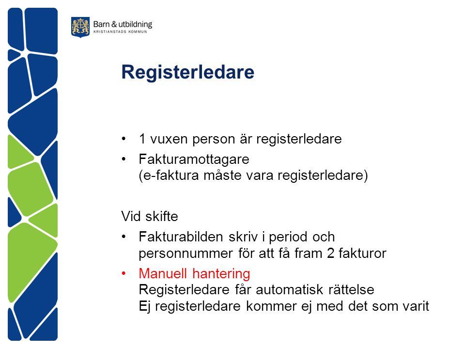 Registerledare 1 vuxen person är registerledare Fakturamottagare (e-faktura måste vara registerledare) Vid skifte Fakturabilden skriv i period och per