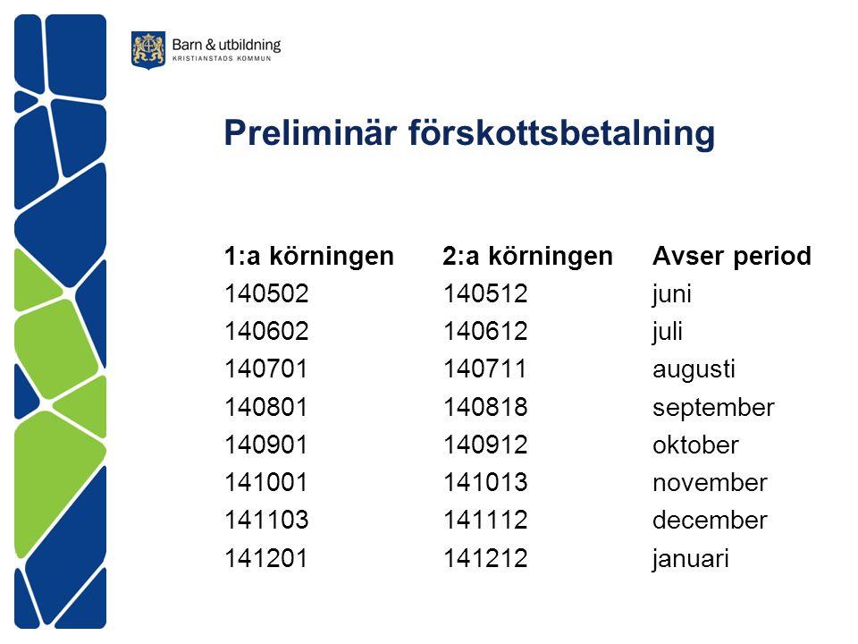 Preliminär förskottsbetalning 1:a körningen 2:a körningen Avser period 140502 140512 juni 140602 140612 juli 140701 140711 augusti 140801 140818 septe