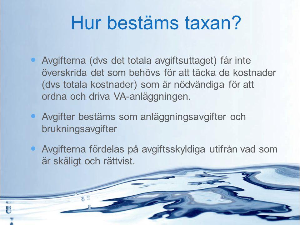 Hur bestäms taxan? Avgifterna (dvs det totala avgiftsuttaget) får inte överskrida det som behövs för att täcka de kostnader (dvs totala kostnader) som