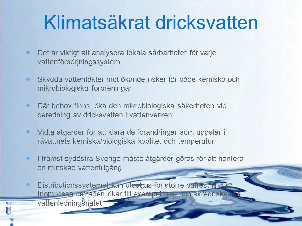 Klimatsäkrat dricksvatten Det är viktigt att analysera lokala sårbarheter för varje vattenförsörjningssystem Skydda vattentäkter mot ökande risker för