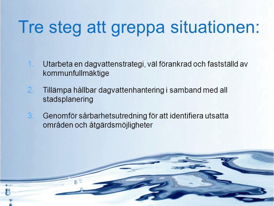 Tre steg att greppa situationen: 1. Utarbeta en dagvattenstrategi, väl förankrad och fastställd av kommunfullmäktige 2. Tillämpa hållbar dagvattenhant