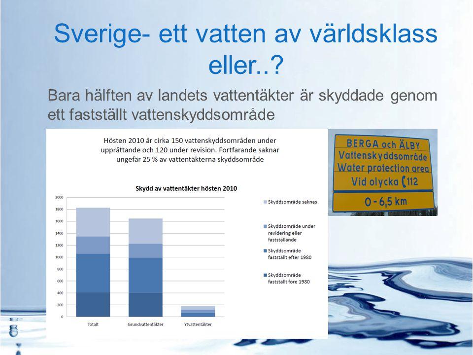 Sverige- ett vatten av världsklass eller..? Bara hälften av landets vattentäkter är skyddade genom ett fastställt vattenskyddsområde