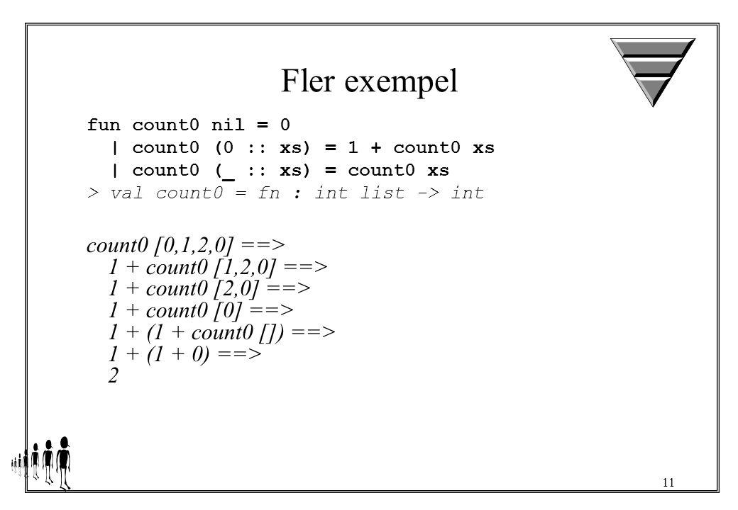 11 Fler exempel fun count0 nil = 0 | count0 (0 :: xs) = 1 + count0 xs | count0 (_ :: xs) = count0 xs > val count0 = fn : int list -> int count0 [0,1,2,0] ==> 1 + count0 [1,2,0] ==> 1 + count0 [2,0] ==> 1 + count0 [0] ==> 1 + (1 + count0 []) ==> 1 + (1 + 0) ==> 2