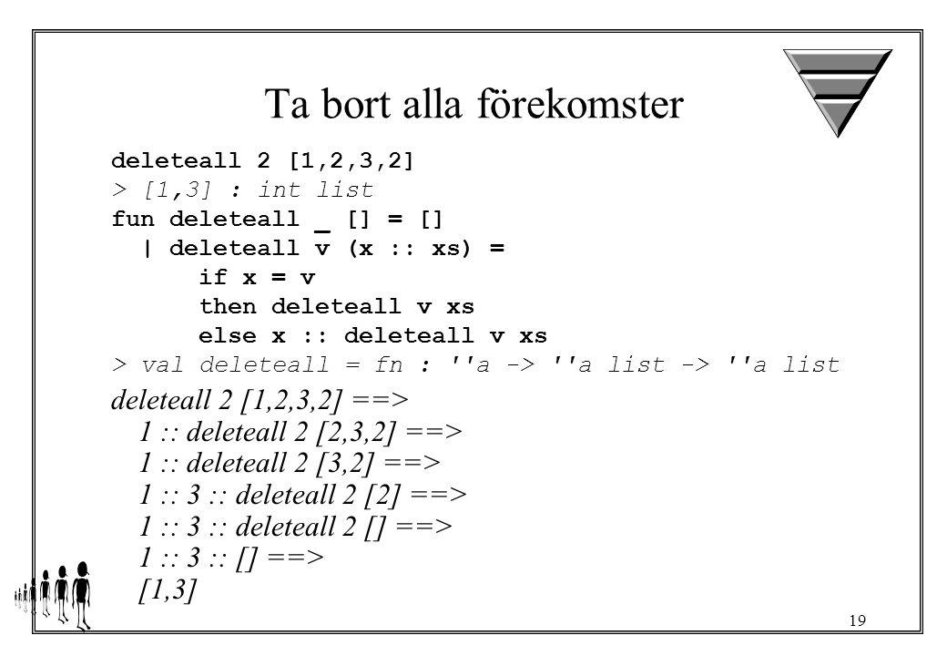 19 Ta bort alla förekomster deleteall 2 [1,2,3,2] > [1,3] : int list fun deleteall _ [] = [] | deleteall v (x :: xs) = if x = v then deleteall v xs else x :: deleteall v xs > val deleteall = fn : a -> a list -> a list deleteall 2 [1,2,3,2] ==> 1 :: deleteall 2 [2,3,2] ==> 1 :: deleteall 2 [3,2] ==> 1 :: 3 :: deleteall 2 [2] ==> 1 :: 3 :: deleteall 2 [] ==> 1 :: 3 :: [] ==> [1,3]