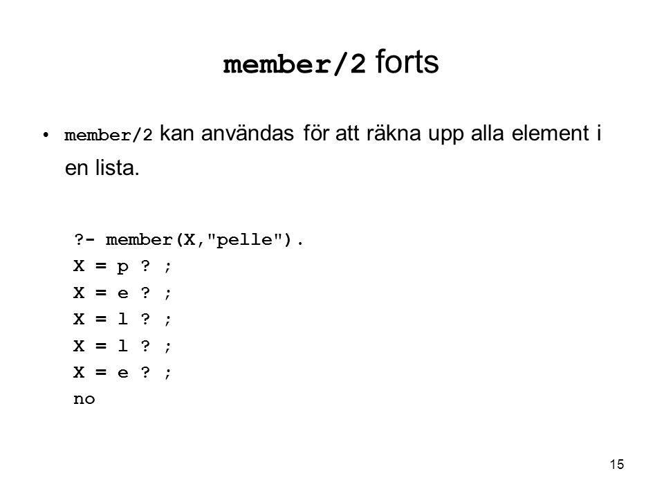15 member/2 forts member/2 kan användas för att räkna upp alla element i en lista.