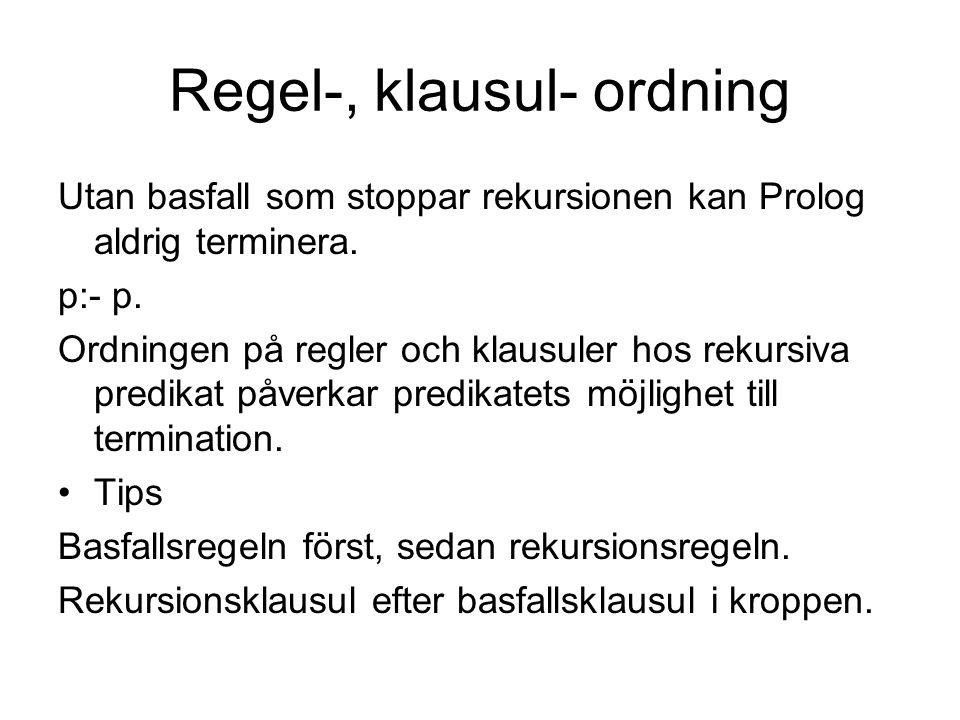 Regelordning lika_långa([],[]).lika_långa([_|Xs],[_|Ys]):- lika_långa(Xs,Ys).