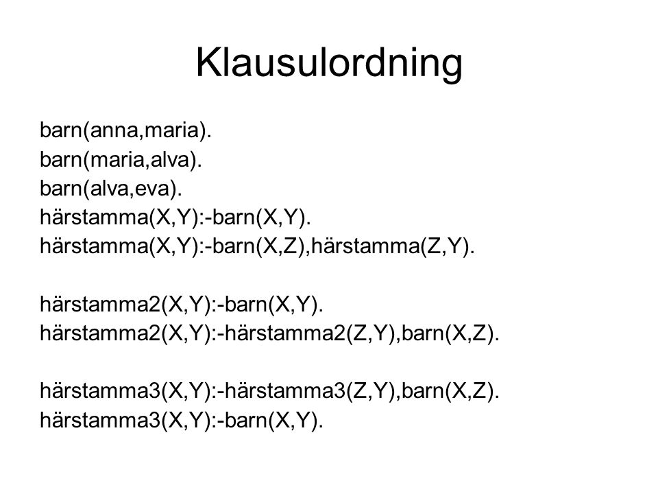 Klausulordning forts.?- härstamma(alva,Vem). Vem=eva; No ?- härstamma2(alva,Vem).