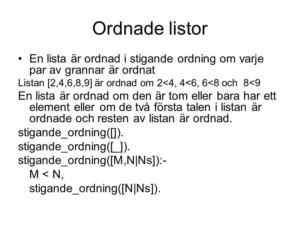 Ordnade listor En lista är ordnad i stigande ordning om varje par av grannar är ordnat Listan [2,4,6,8,9] är ordnad om 2<4, 4<6, 6<8 och 8<9 En lista är ordnad om den är tom eller bara har ett element eller om de två första talen i listan är ordnade och resten av listan är ordnad.