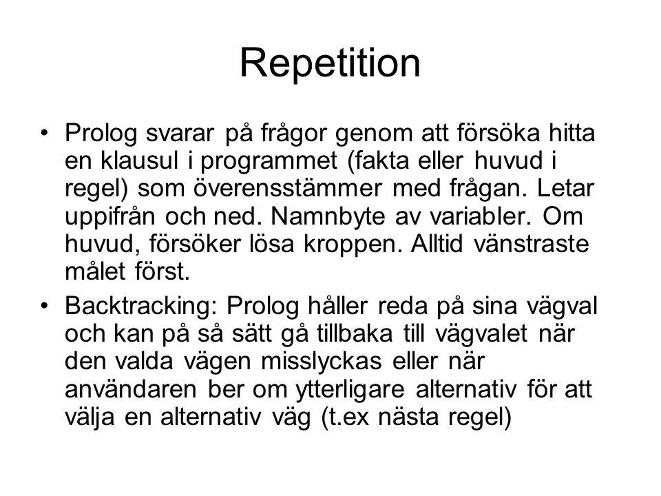 Repetition Prolog svarar på frågor genom att försöka hitta en klausul i programmet (fakta eller huvud i regel) som överensstämmer med frågan. Letar up