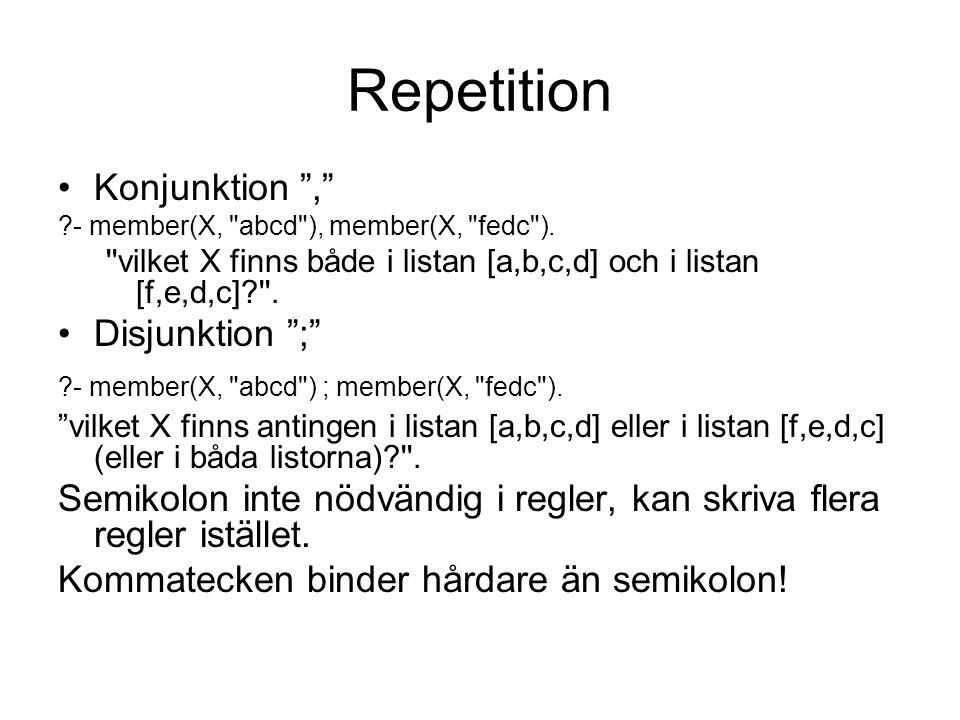 Repetition Negation \+ man(X) :- \+ kvinna(X).