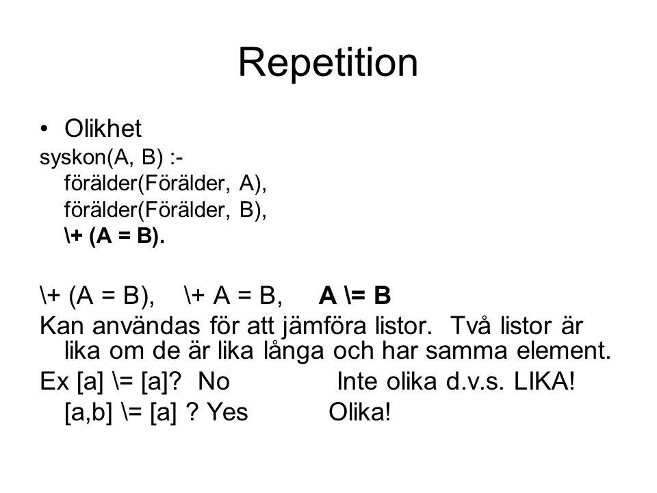 Repetition Olikhet syskon(A, B) :- förälder(Förälder, A), förälder(Förälder, B), \+ (A = B). \+ (A = B), \+ A = B, A \= B Kan användas för att jämföra