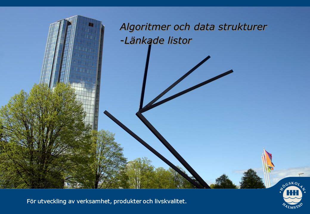 För utveckling av verksamhet, produkter och livskvalitet. Algoritmer och data strukturer -Länkade listor Algoritmer och data strukturer -Länkade listo