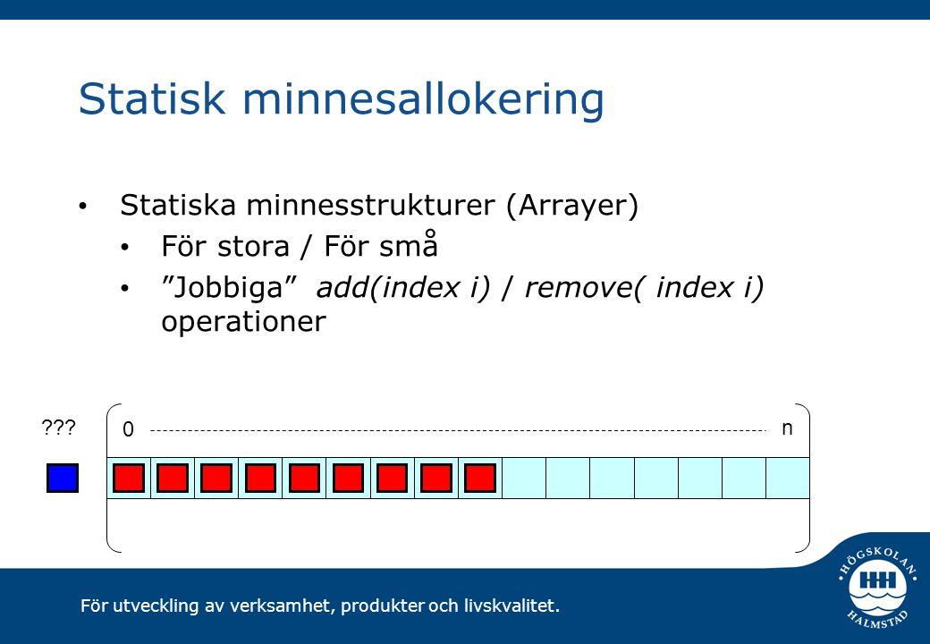 """För utveckling av verksamhet, produkter och livskvalitet. Statisk minnesallokering Statiska minnesstrukturer (Arrayer) För stora / För små """"Jobbiga"""" a"""