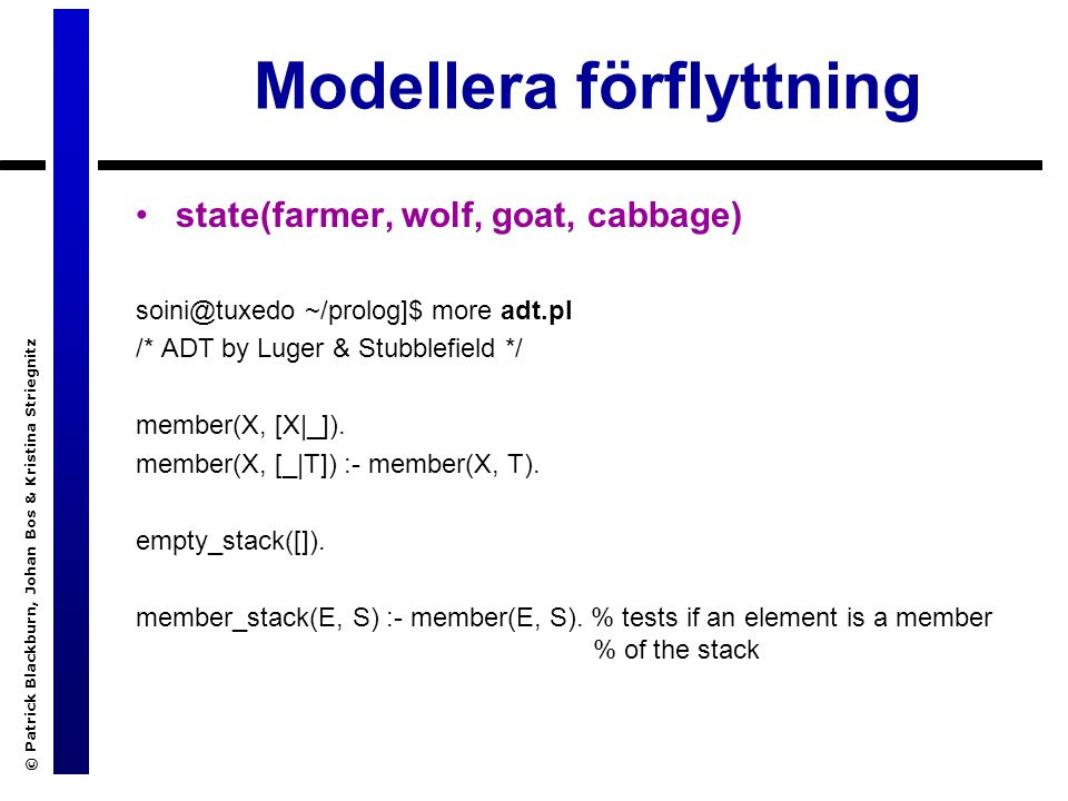 Modellera förflyttning © Patrick Blackburn, Johan Bos & Kristina Striegnitz state(farmer, wolf, goat, cabbage) soini@tuxedo ~/prolog]$ more adt.pl /* ADT by Luger & Stubblefield */ member(X, [X|_]).