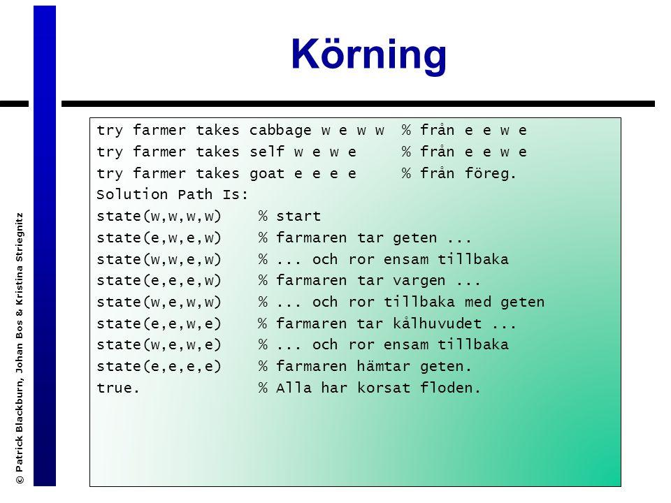Körning © Patrick Blackburn, Johan Bos & Kristina Striegnitz try farmer takes cabbage w e w w % från e e w e try farmer takes self w e w e % från e e w e try farmer takes goat e e e e % från föreg.