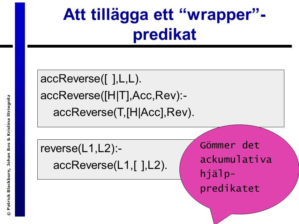 © Patrick Blackburn, Johan Bos & Kristina Striegnitz Att tillägga ett wrapper - predikat accReverse([ ],L,L).