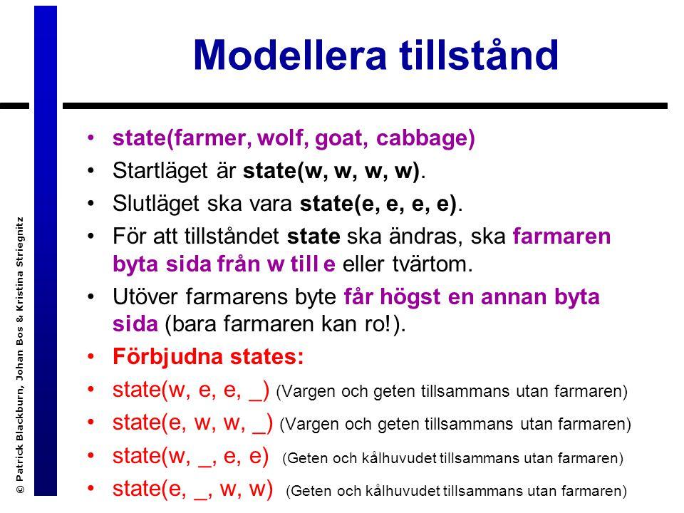 Modellera tillstånd © Patrick Blackburn, Johan Bos & Kristina Striegnitz state(farmer, wolf, goat, cabbage) Startläget är state(w, w, w, w).