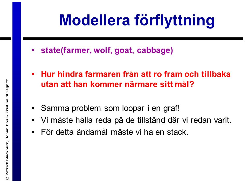 Modellera förflyttning © Patrick Blackburn, Johan Bos & Kristina Striegnitz state(farmer, wolf, goat, cabbage) Hur hindra farmaren från att ro fram och tillbaka utan att han kommer närmare sitt mål.