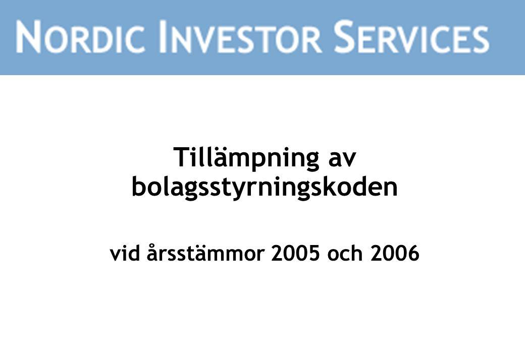 Tillämpning av bolagsstyrningskoden vid årsstämmor 2005 och 2006