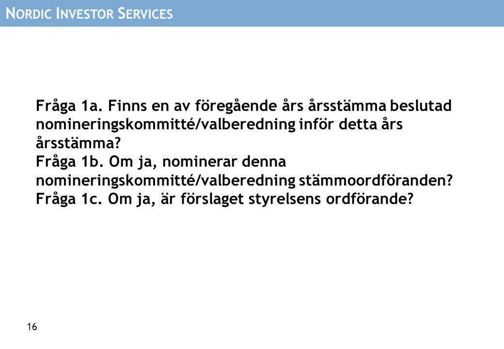 16 Fråga 1a. Finns en av föregående års årsstämma beslutad nomineringskommitté/valberedning inför detta års årsstämma? Fråga 1b. Om ja, nominerar denn
