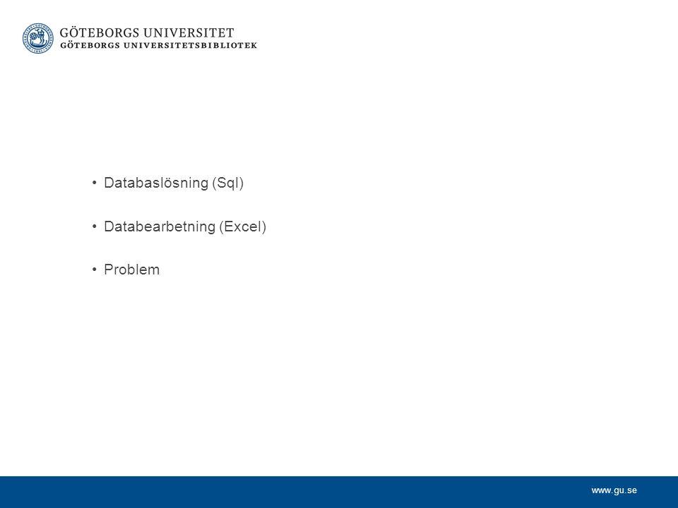 www.gu.se Databaslösning (Sql) Databearbetning (Excel) Problem