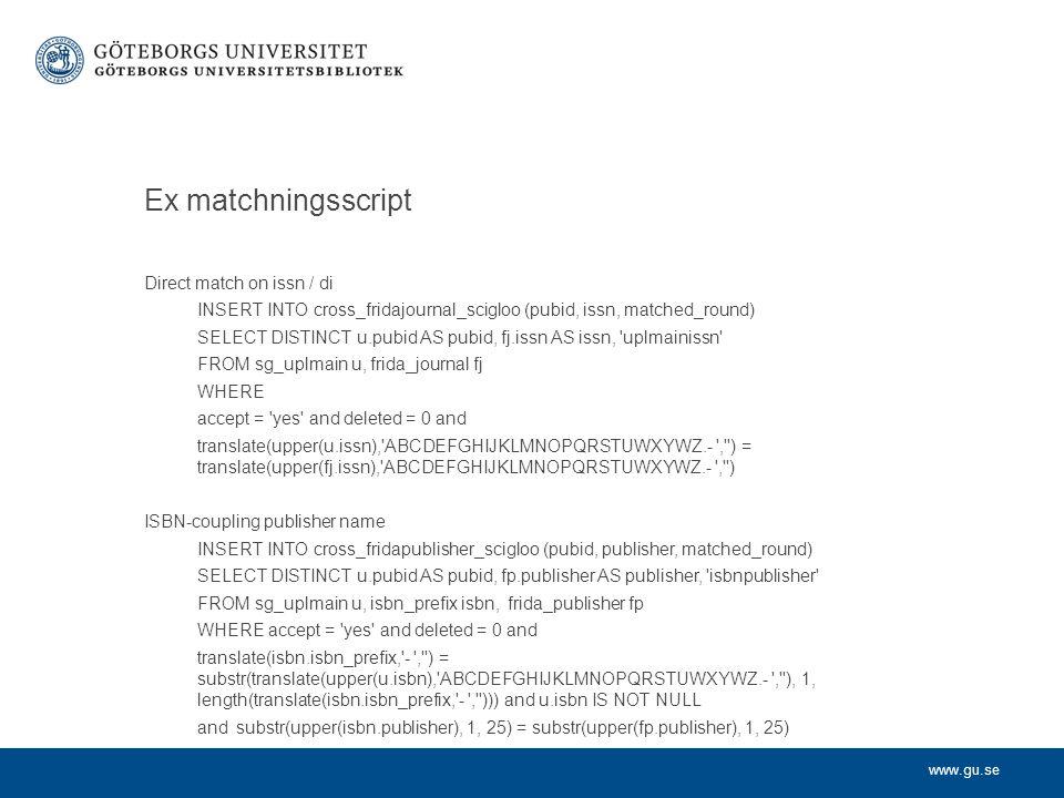 www.gu.se Forts Databaslösning ( Bibmet ) Cross-tabeller (matchning) GUP (GU:s publ- databas) GUP (GU:s publ- databas) Norska tidskr- listan Norska förlags- listan ISSNpubid 1381- 1169 155089 0001- 6489 155082 o.s.v...
