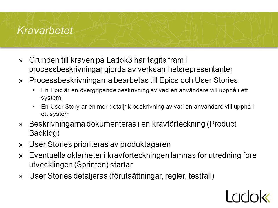 Kravarbetet »Grunden till kraven på Ladok3 har tagits fram i processbeskrivningar gjorda av verksamhetsrepresentanter »Processbeskrivningarna bearbeta