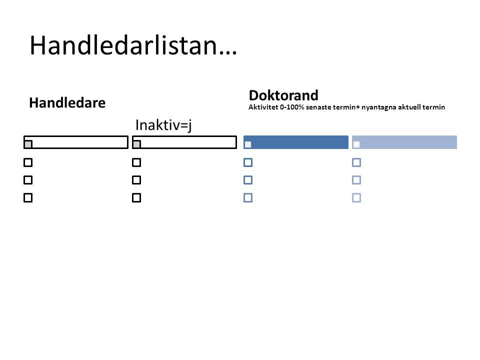 Handledarlistan… Handledare Doktorand Aktivitet 0-100% senaste termin+ nyantagna aktuell termin Inaktiv=j