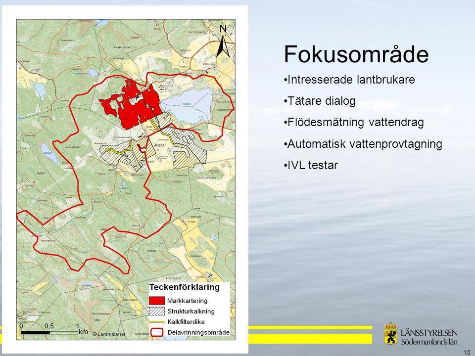 10 Fokusområde Intresserade lantbrukare Tätare dialog Flödesmätning vattendrag Automatisk vattenprovtagning IVL testar