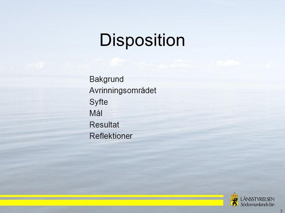 3 Disposition Bakgrund Avrinningsområdet Syfte Mål Resultat Reflektioner