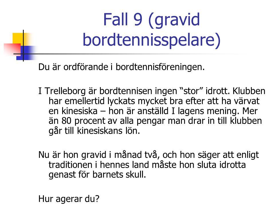 """Fall 9 (gravid bordtennisspelare) Du är ordförande i bordtennisföreningen. I Trelleborg är bordtennisen ingen """"stor"""" idrott. Klubben har emellertid ly"""