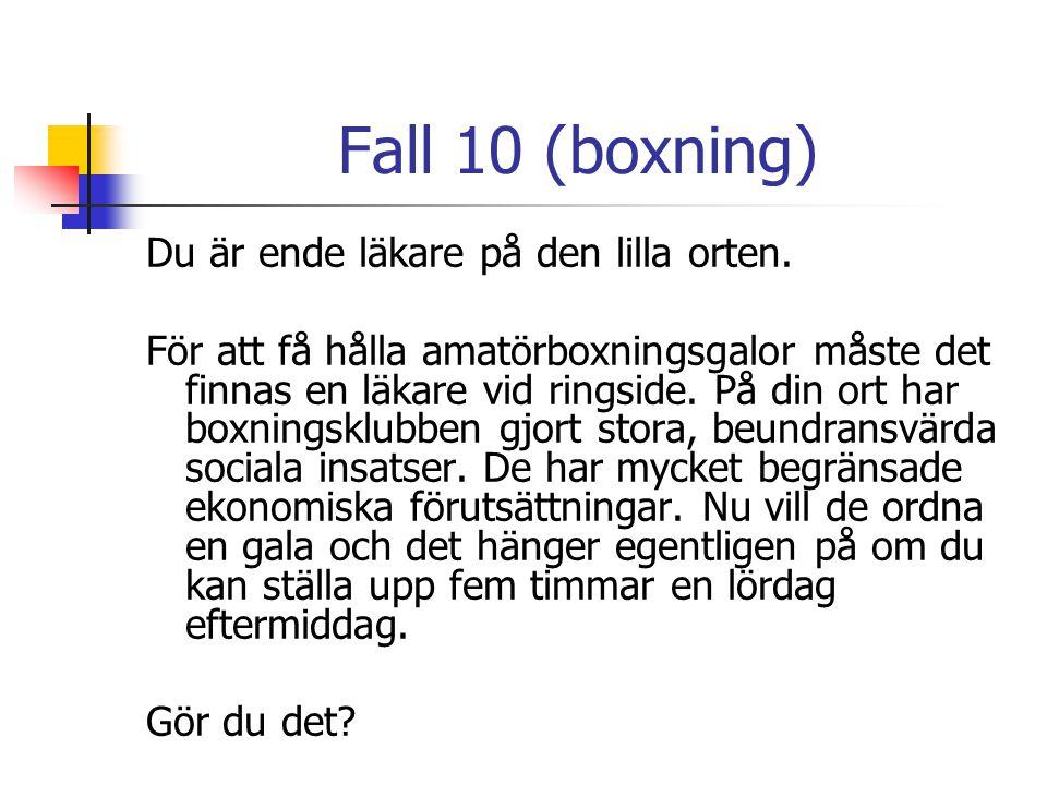 Fall 10 (boxning) Du är ende läkare på den lilla orten. För att få hålla amatörboxningsgalor måste det finnas en läkare vid ringside. På din ort har b