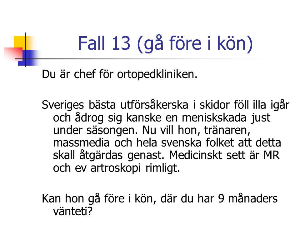Fall 13 (gå före i kön) Du är chef för ortopedkliniken. Sveriges bästa utförsåkerska i skidor föll illa igår och ådrog sig kanske en meniskskada just