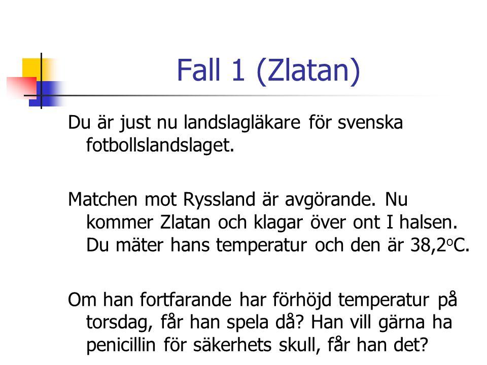 Fall 1 (Zlatan) Du är just nu landslagläkare för svenska fotbollslandslaget. Matchen mot Ryssland är avgörande. Nu kommer Zlatan och klagar över ont I