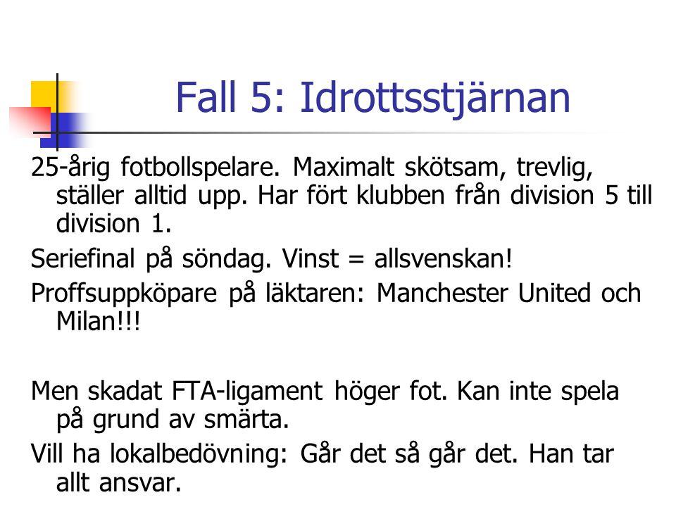 Fall 5: Idrottsstjärnan 25-årig fotbollspelare. Maximalt skötsam, trevlig, ställer alltid upp. Har fört klubben från division 5 till division 1. Serie