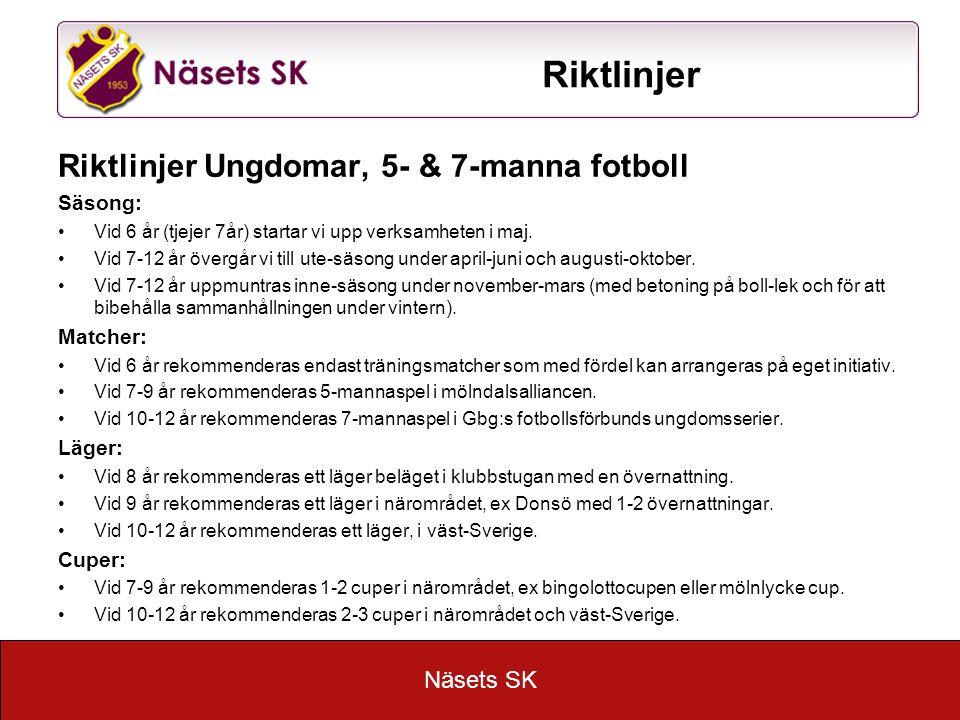 Näsets SK Riktlinjer Riktlinjer Ungdomar, 5- & 7-manna fotboll Säsong: Vid 6 år (tjejer 7år) startar vi upp verksamheten i maj.